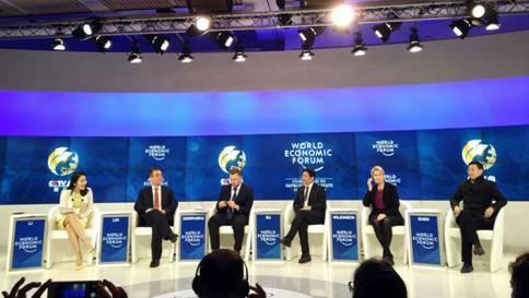 23届世界经济论坛_...瑞士联邦主席阿兰·贝尔塞(后左一)在第48届世界经济论坛年会上...